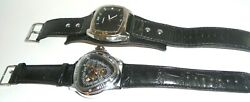 2 Mens Watches Vintage Fossil And Winner Stainless Steel With Black Leather