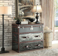 Acme Aberdeen Sofa Table In Vintage Dark Brown Leather Finish 97154