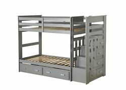 Acme Allentown Twin Storage Bunk Bed With Trundle In Gray Finish 37870