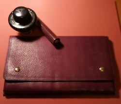 Visconti Firenze Traveling Inkwell Ink Pot Italy W/ Leather 12 Pen Case And Ink