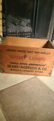 Antique Small Arms Ammunition Sears- Roebuck Wood Box Crate Advertising Wood.