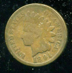 1891 Indian Head Us Cent One Penny 1 Cent Key Date Indiancent American Coin1329