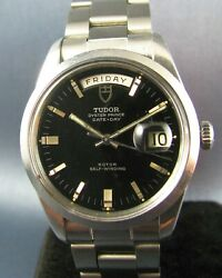 Vintage Tudor Oyster Date Day Stainless Steel Mens Watch 7017 1970