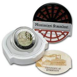 Cook Islands 25 2015 5oz Fine Silver Mother Of Pearl 'mississippi Steamboat'