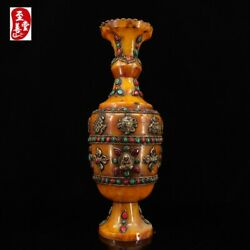 Chinese Antique Inlaid With Gems, Auspicious Eight Treasures And Honey Wax Vase