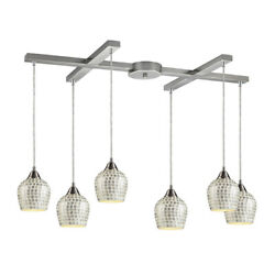 Elk Fusion 6 Light Pendant In Satin Nickel And Silver Glass 528-6slv
