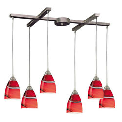 Elk Pierra 6 Light Pendant In Satin Nickel And Candy Glass 527-6cy