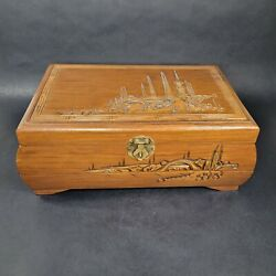 Vintage Carved Wooden Jewelry Chest Pagoda Bamboo Chinese Longevity Box