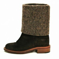 Short Boots Coco Mark Brown Dark Wool Suede Previously Owned No.8076