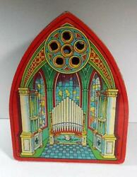 1930's Tin Litho Wind Up Musical Organ Cathedral Church By J. Chein Works Lqqk