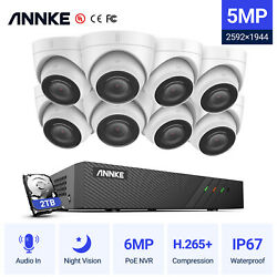 Annke H.265+ 8ch Poe Nvr 5mp Ip Security Audio In Camera System Network Cctv 2tb