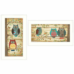 Trendydecor4u Whimsical Owls 2-pc Vignette By Annie Lapoint Wall Art V412-712w