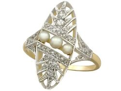 Antique French Seed Pearl And 0.48ct Diamond 18ct Yellow Gold Dress Ring