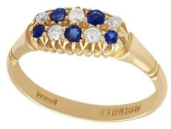 Sapphire And Diamond, 18ct Yellow Gold Dress Ring - Antique 1900 - Size P 1/2