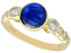 Vintage 1.74ct Sapphire And 0.57ct Diamond 18ct Yellow Gold Dress Ring 1981 N