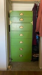 Campaign Chest Green 1960s/70s Antique Mid-century Modern Campaign Chest Tallboy