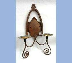 Antique Gothic/arts Crafts Candle Holder Sconce Light,hand Wrought Iron,swirl