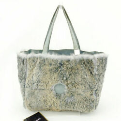 Last Point Tote Bag With Mini Pouch Coco Mark Beige Gray Blue No.9851