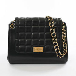 Item Chain Shoulder Bag Lambskin Black Women And039s Previously Owned No.248