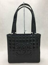 Tote Bag A17809 Leather Blk Patent Chocolate Bar Coco Mark No.1932