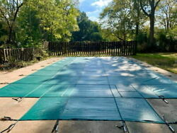 Pool Safety Cover Inground Pool Cover 18x36ft, Rectangle Safety Pool Cover +step