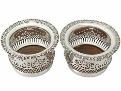 Antique 1940s Pair Of Electroplated Silver Bottle Coasters - Diameter 13.2cm
