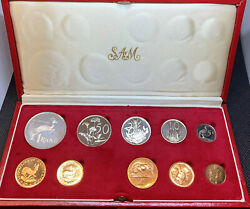 South Africa 1979 10 Coin Proof Set Gold And Silver Rand Mint Box 0.352 Oz