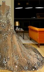 Luxury Gown Evening Dresses See Through Heavy Beads Pearls Sequined Tulle Zipper
