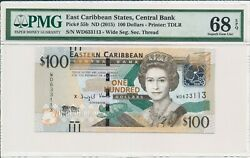 Central Bank East Caribbean States 100 Nd2015 Fancy S/no X33113 Pmg 68epq