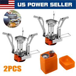 2 Portable Camping Stoves Backpacking Stove with Piezo Ignition Adjustable Valve $14.59