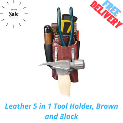 Leather 5 In 1 Tool Holder Brown And Black