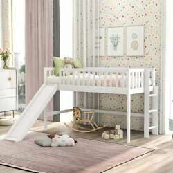 Twin Size Low Loft Bed Frame With Ladder And Slide Kids Teens Bedroom Furniture