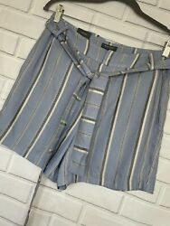 Madison Womens Mom Shorts High Rise Belted Size 10 Blue Striped Summer New