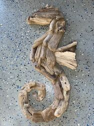 Large Seahorse Driftwood Wall Art Hand Made Wood Wall Hanging Home Decor