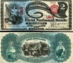 Lazy Deuce Reproduction, Series 1875, 2 National Currency Banknote, Ks, Hi-res