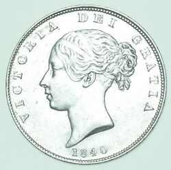Scarce 1840 Young Head Halfcrown, British Silver Coin From Victoria Ef