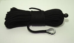 1/2 X 200 Black Anchor Line Double Braid Nylon Boat Rope Made In The Usa