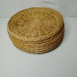 Vintage Wicker Plate Holders Lot Of 9 Rattan Picnic Camping Boho