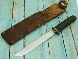 Antique Ww2 Hand Made Theater Combat Fighting Bowie Knife And Sheath Set Knives