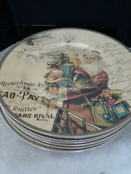 New Ragon House Christmas Old Time Santa Plates Plastic With Labels