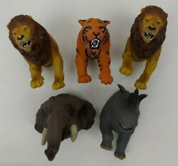 Lot Of 5 Resaurus Large Rubber Finger Puppets 1997 Tiger Lion Rhino Elephant
