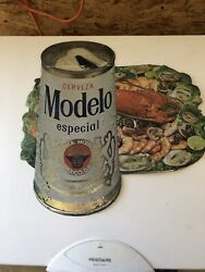 Modelo Especial Beer Can Sign Seafood Shrimp Lobster Old Steel Top Can Mexico