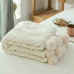Soft Knit Blanket With Pompom Balls Warm Bedspread Throw Blankets For Bed Sofa