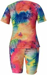 Plus Size Two Piece Outfits For Women - Summer Oversized T Shirts Top + Bodycom