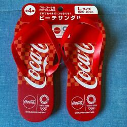 Tokyo Olympics 2020 Coca-cola Products Beach Sandals Red White L Size Japan