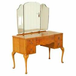 Stunning Vintage Art Deco Burr Walnut Dressing Table With Queen Anne Legs