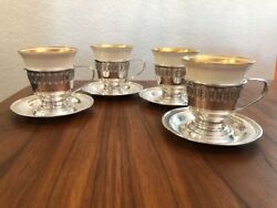 Vintage Lenox China Demitasse 4 Cups With Sterling Silver Holders And Saucers