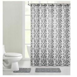 Mainstays Aster Geometric Polyester Shower Curtain Bath Set Grey 15 Pieces New
