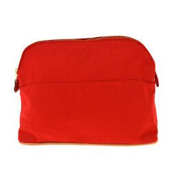 Authentic Hermes H Logos Bolide Mm Pouch Bag Cotton Leather Red France 63bt579