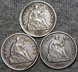 1856 1857 1872 Seated Liberty Half Dime Lot ---- Nice Type Coin Lot ---- S453